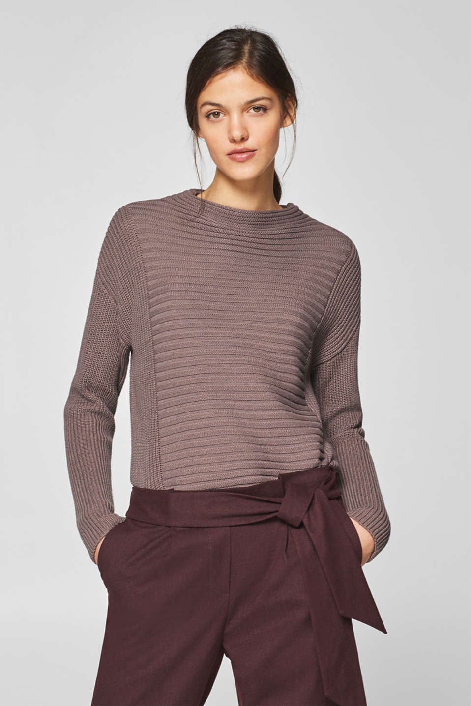 Esprit - Textured jumper in blended cotton