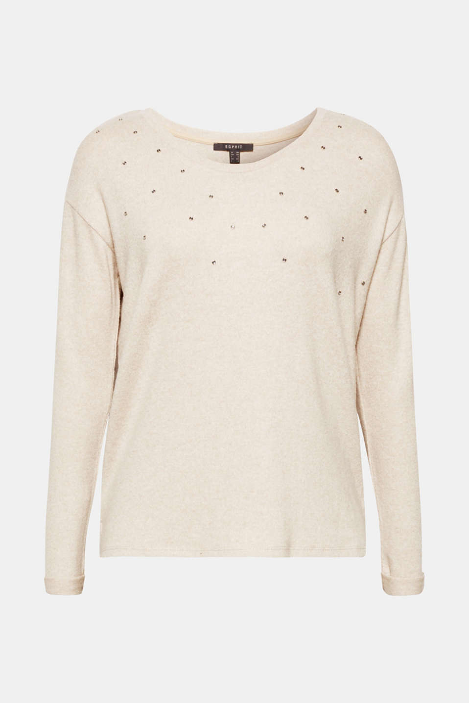 The melange brushed effect and glittering gemstones make this casual long sleeve top with a V-neckline and high-low hem so stylish!