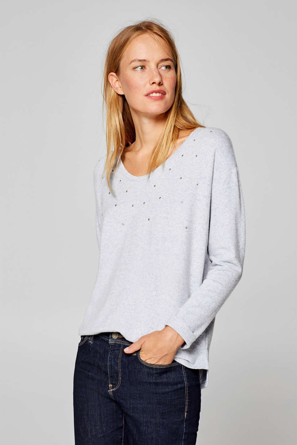 Esprit - Long sleeve stretch top with a rhinestone decoration