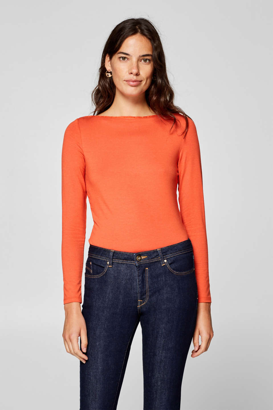 Esprit - Stretchy long sleeve top with a bateau neckline