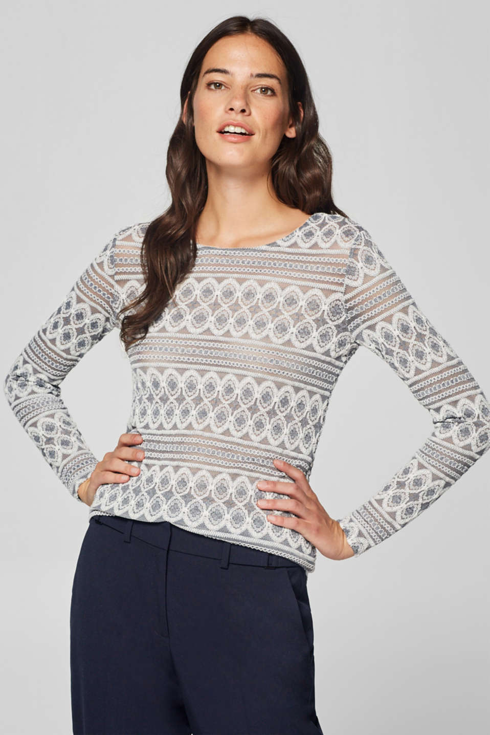 Esprit - Transparant kanten shirt met stretch