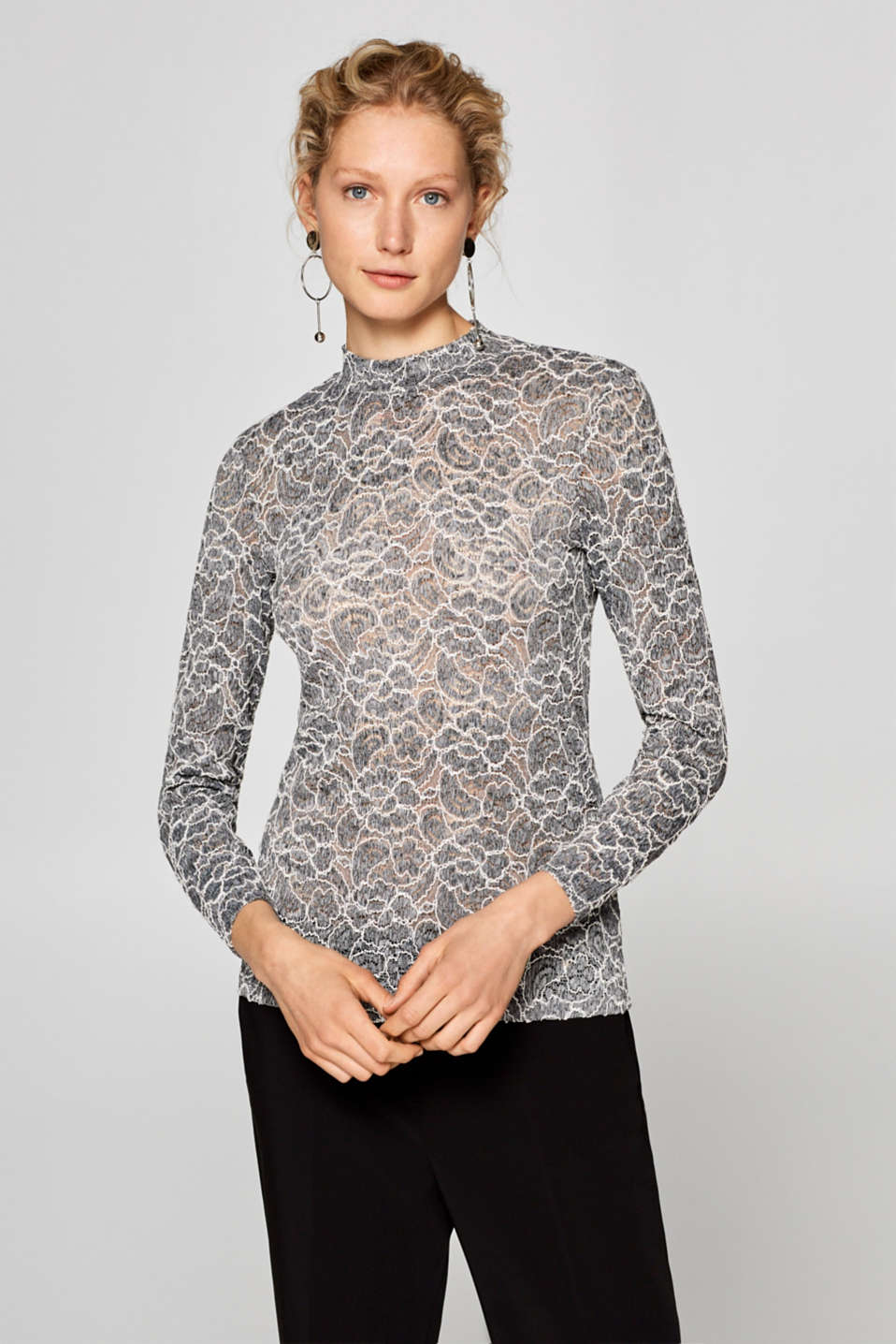 Esprit - Stretch long sleeve top in two-tone lace