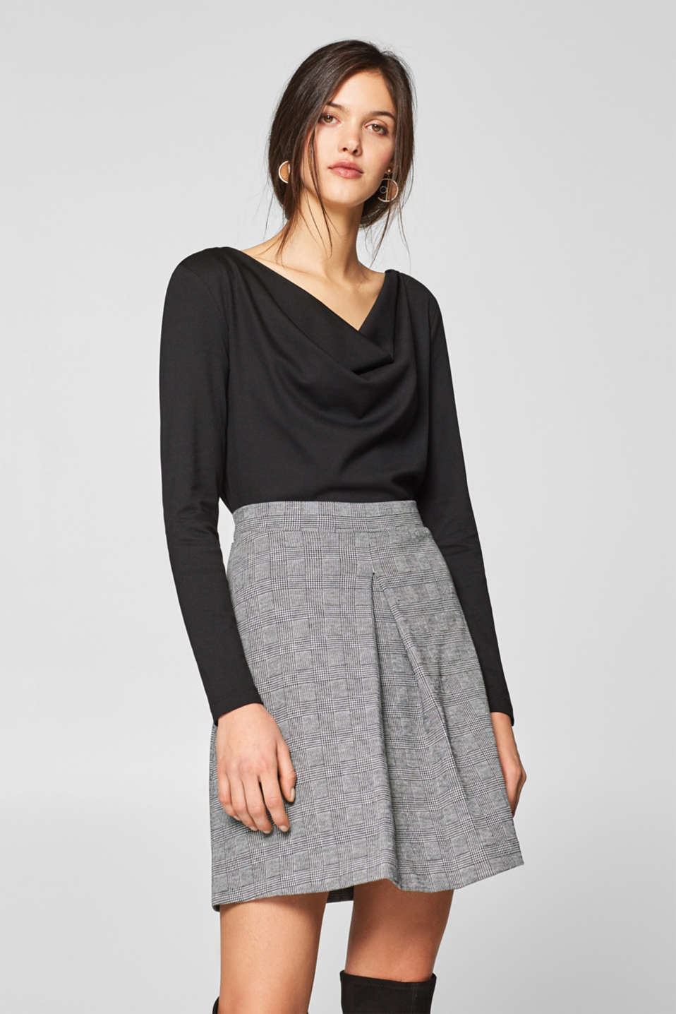 Esprit - Jersey long sleeve top with a cowl neckline