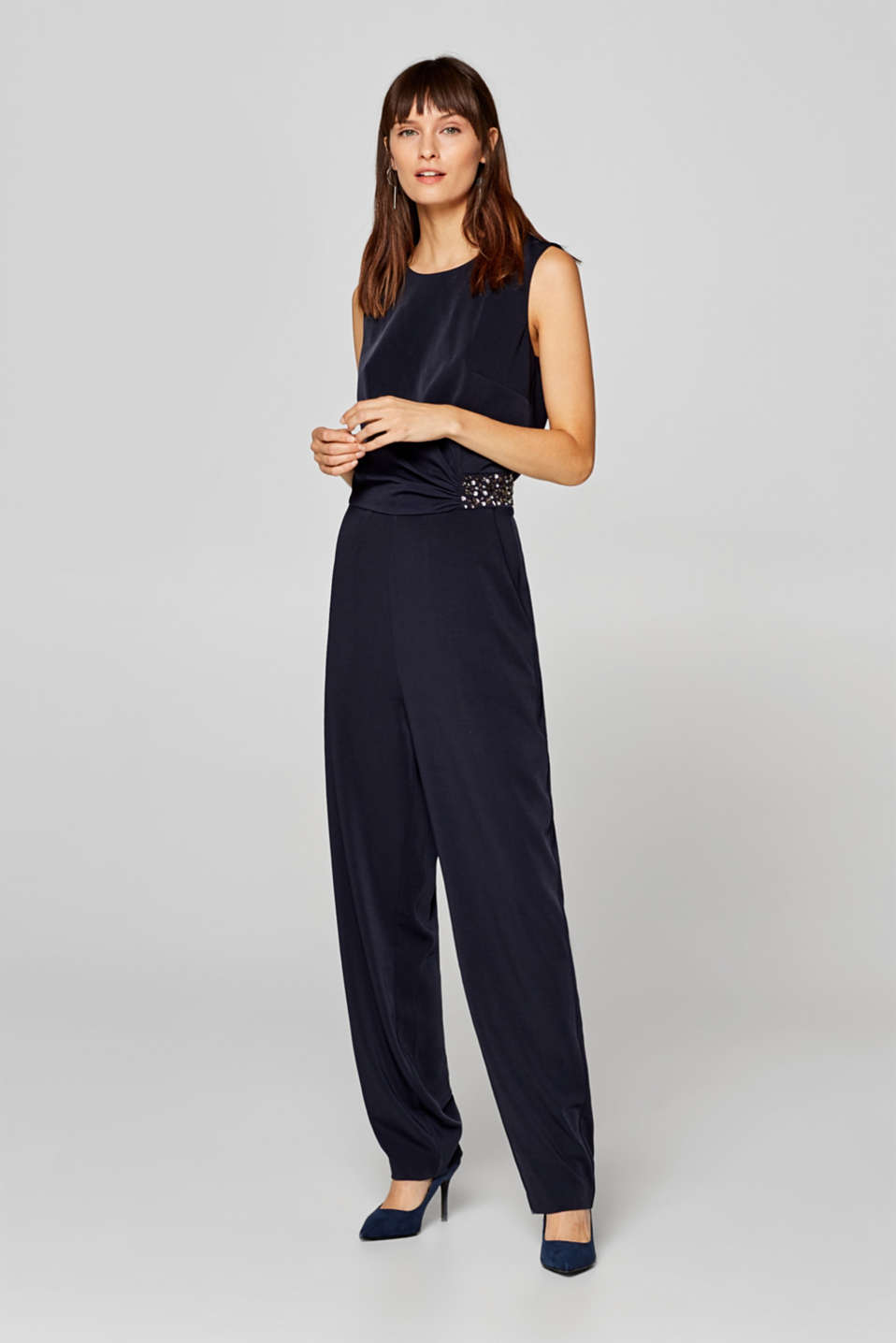 Esprit - Jumpsuit with stretch and decorative rhinestones