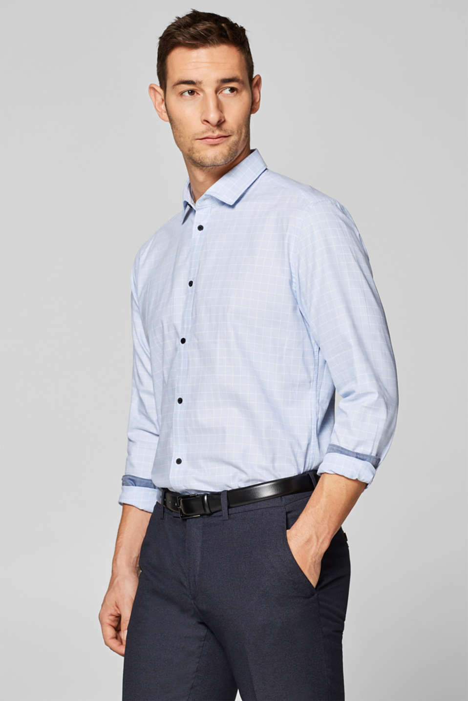 Esprit - Woven shirt with latticework, 100% cotton