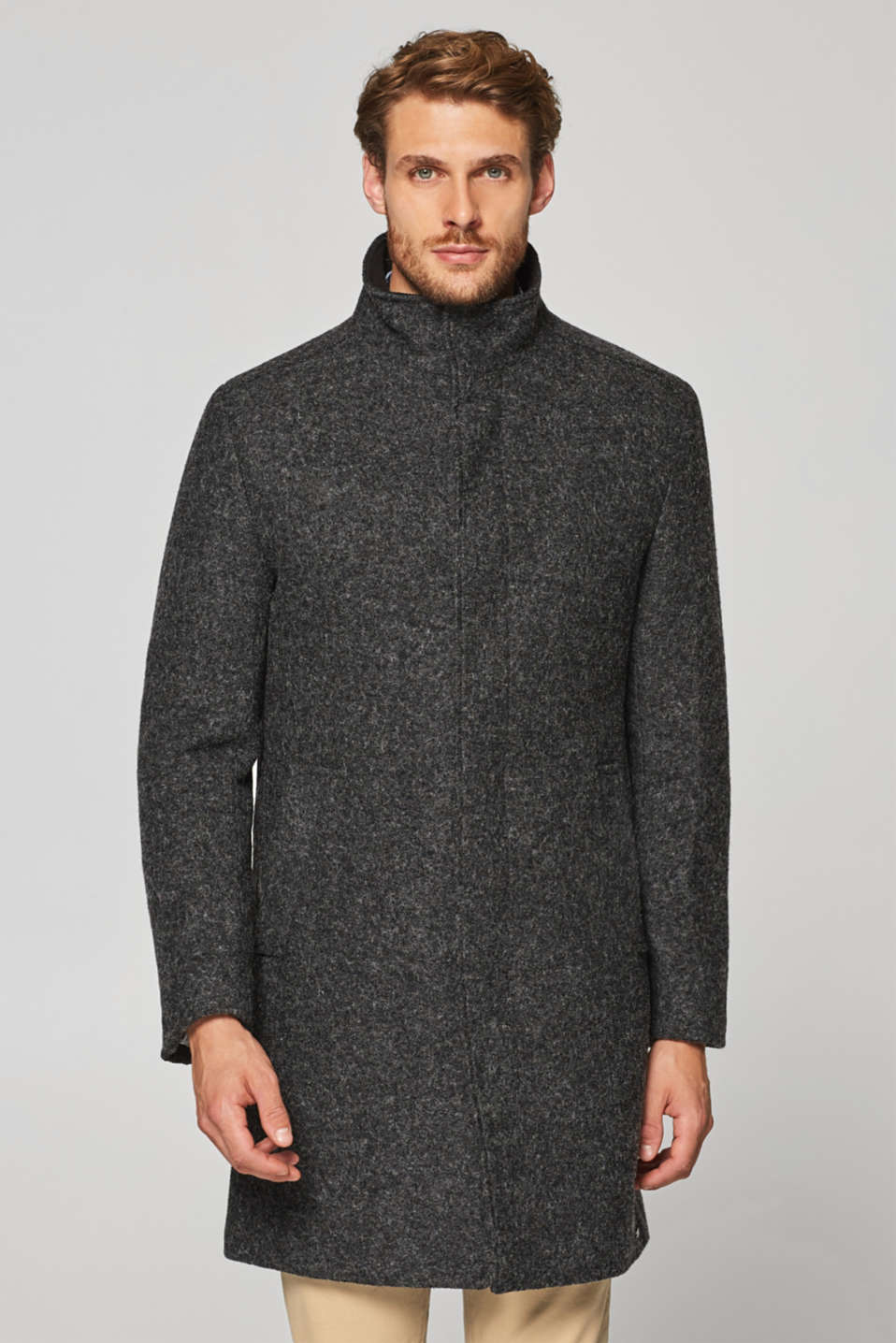 Esprit - Blended wool: coat with a stand-up collar