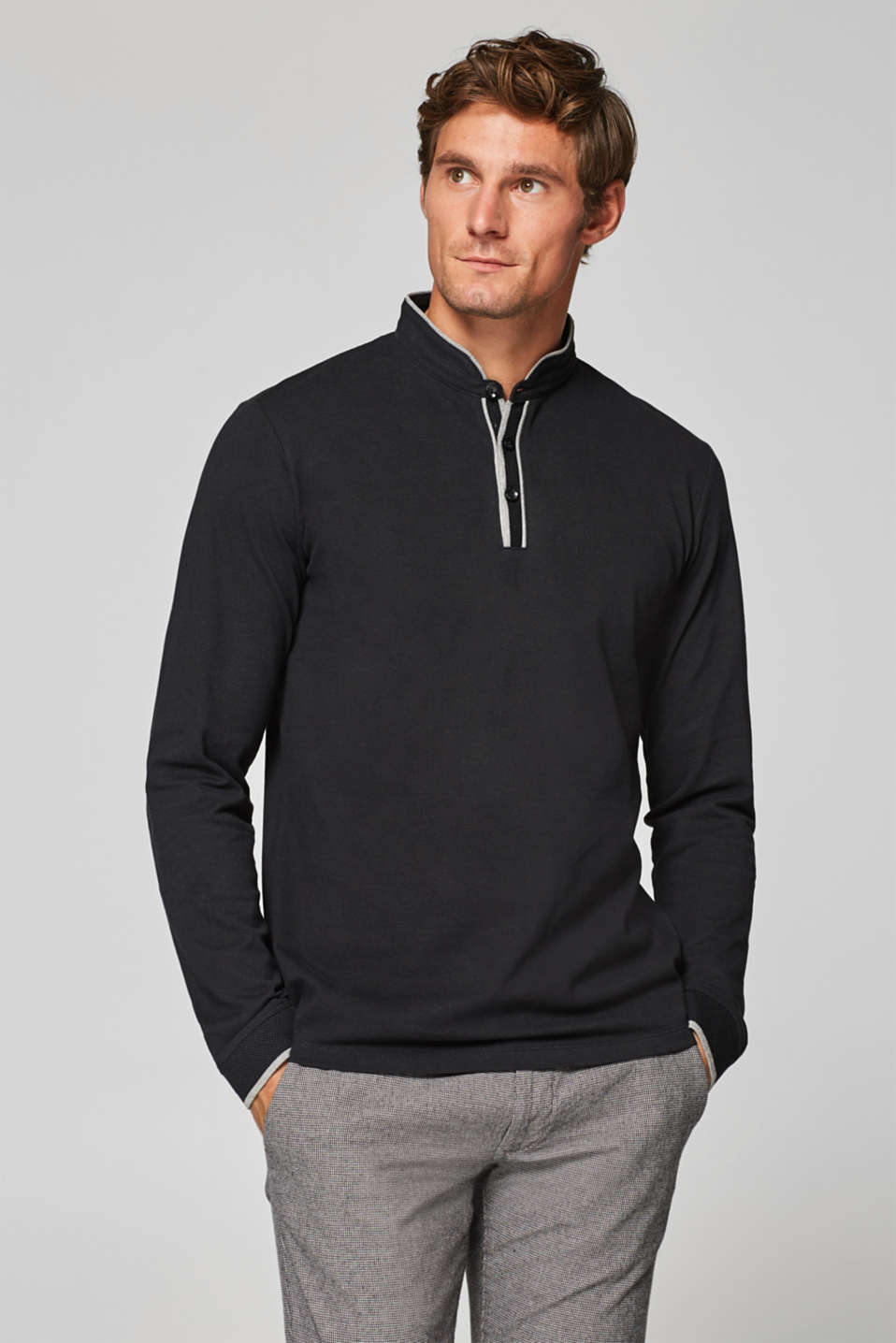 Esprit - Straight long sleeve polo top in 100% cotton