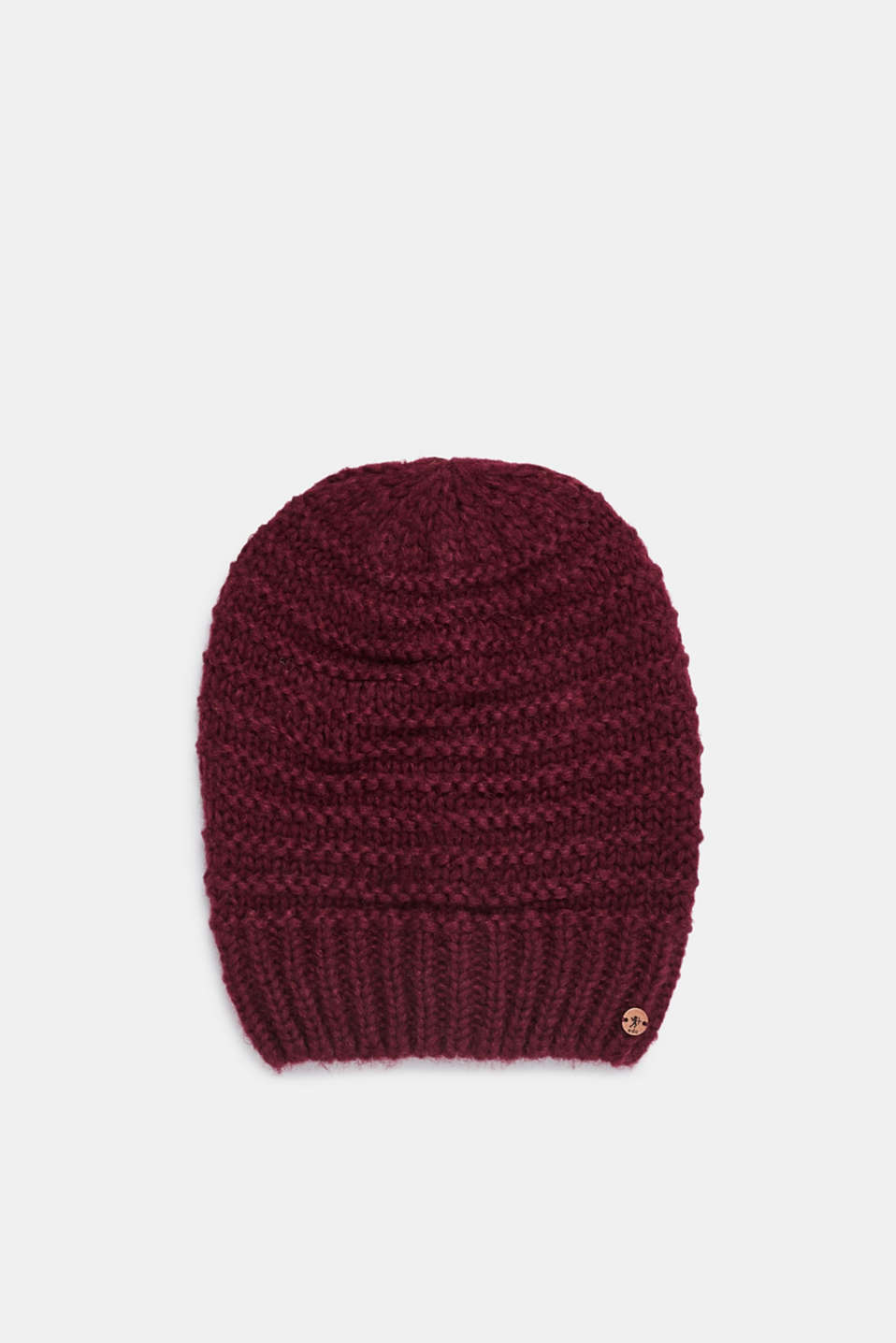 Textured knit beanie, PLUM RED, detail image number 0