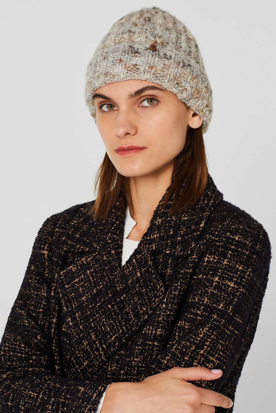 Wool blend: hat in Italian yarn, GREY, detail image number 2
