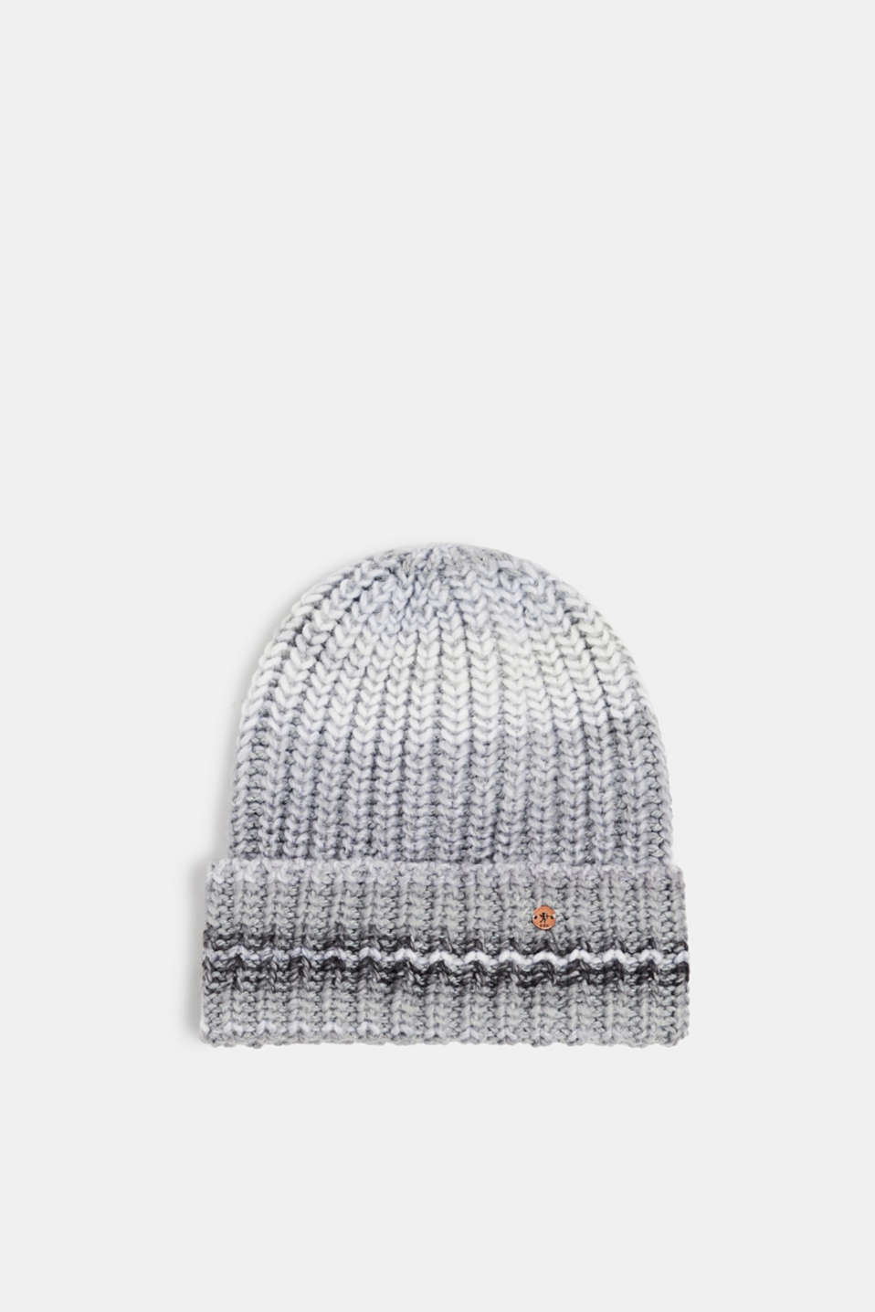 Wool blend: Textured knit beanie, GREY, detail image number 0