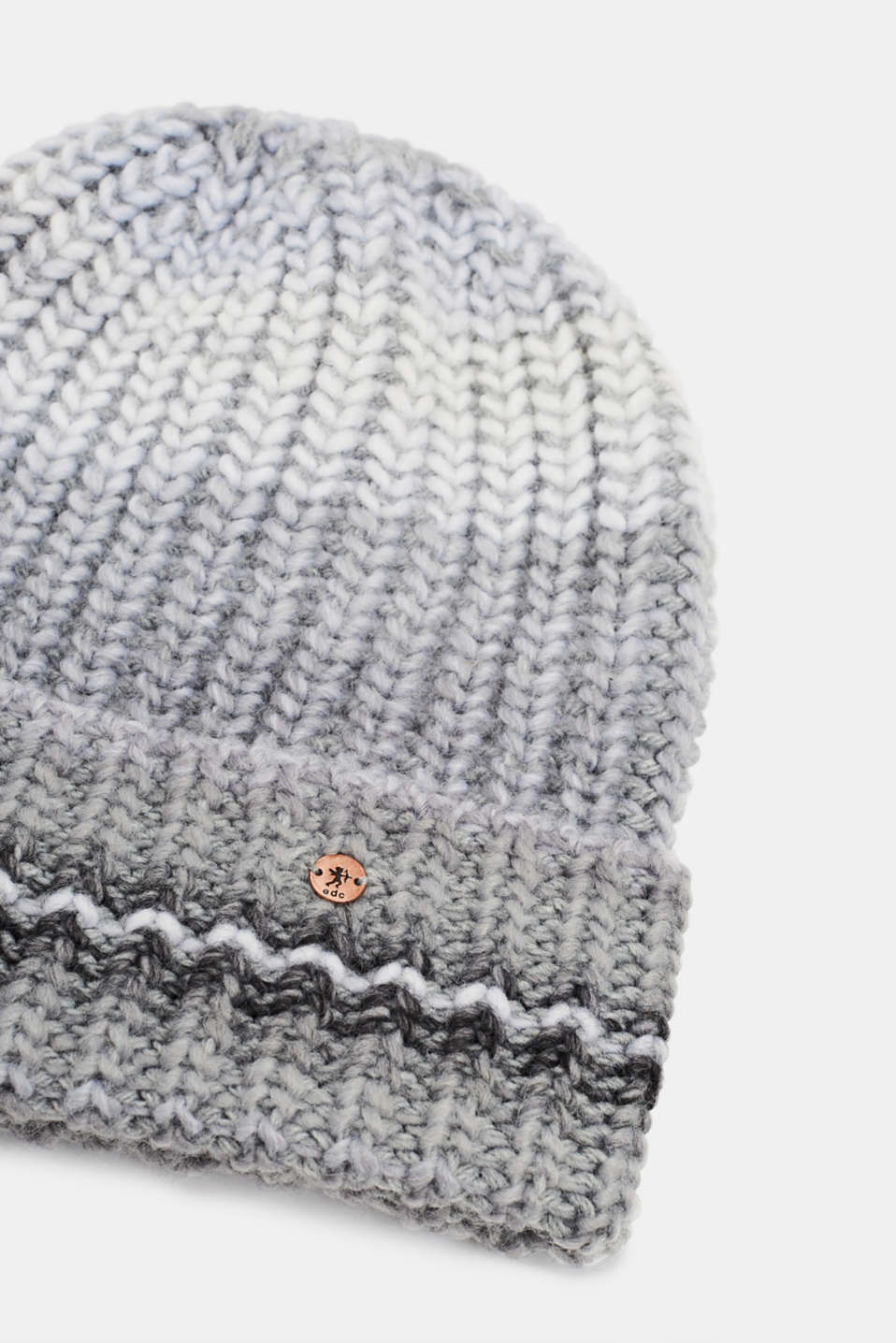 Wool blend: Textured knit beanie, GREY, detail image number 1