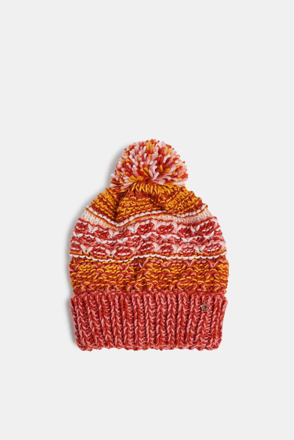 Hat with a pompom, RED ORANGE, detail image number 0