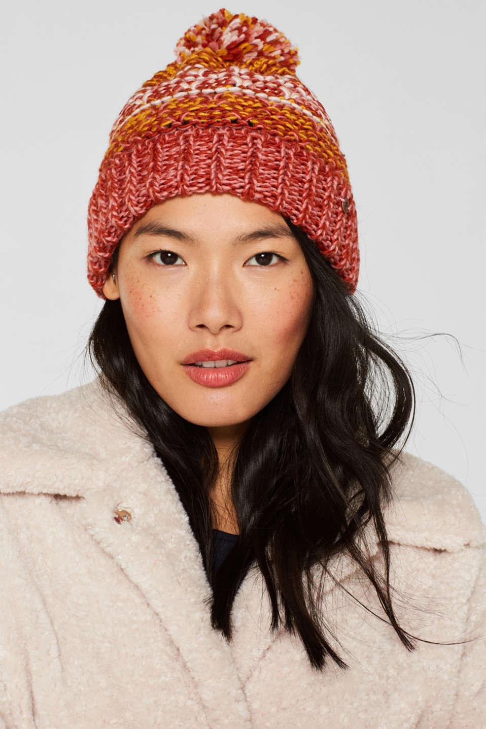 Hat with a pompom, RED ORANGE, detail image number 2