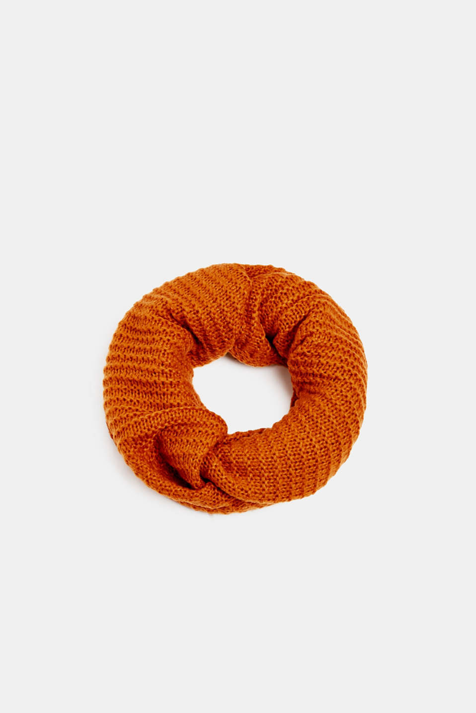 Snood scarf made of a chunky knit, AMBER YELLOW, detail image number 0