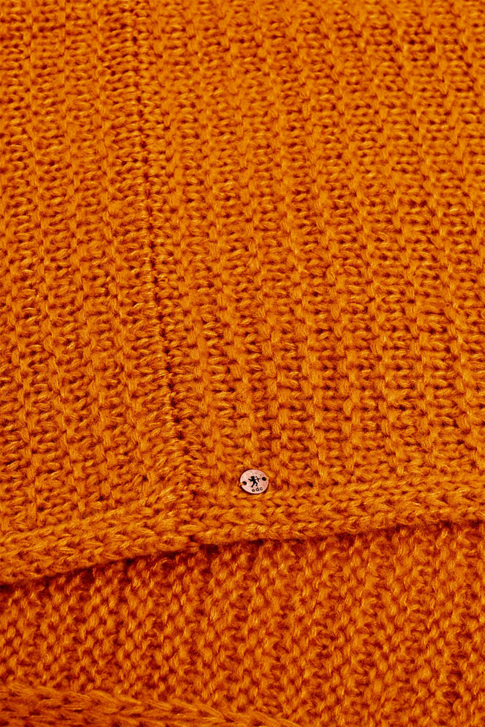 Snood scarf made of a chunky knit, AMBER YELLOW, detail image number 2