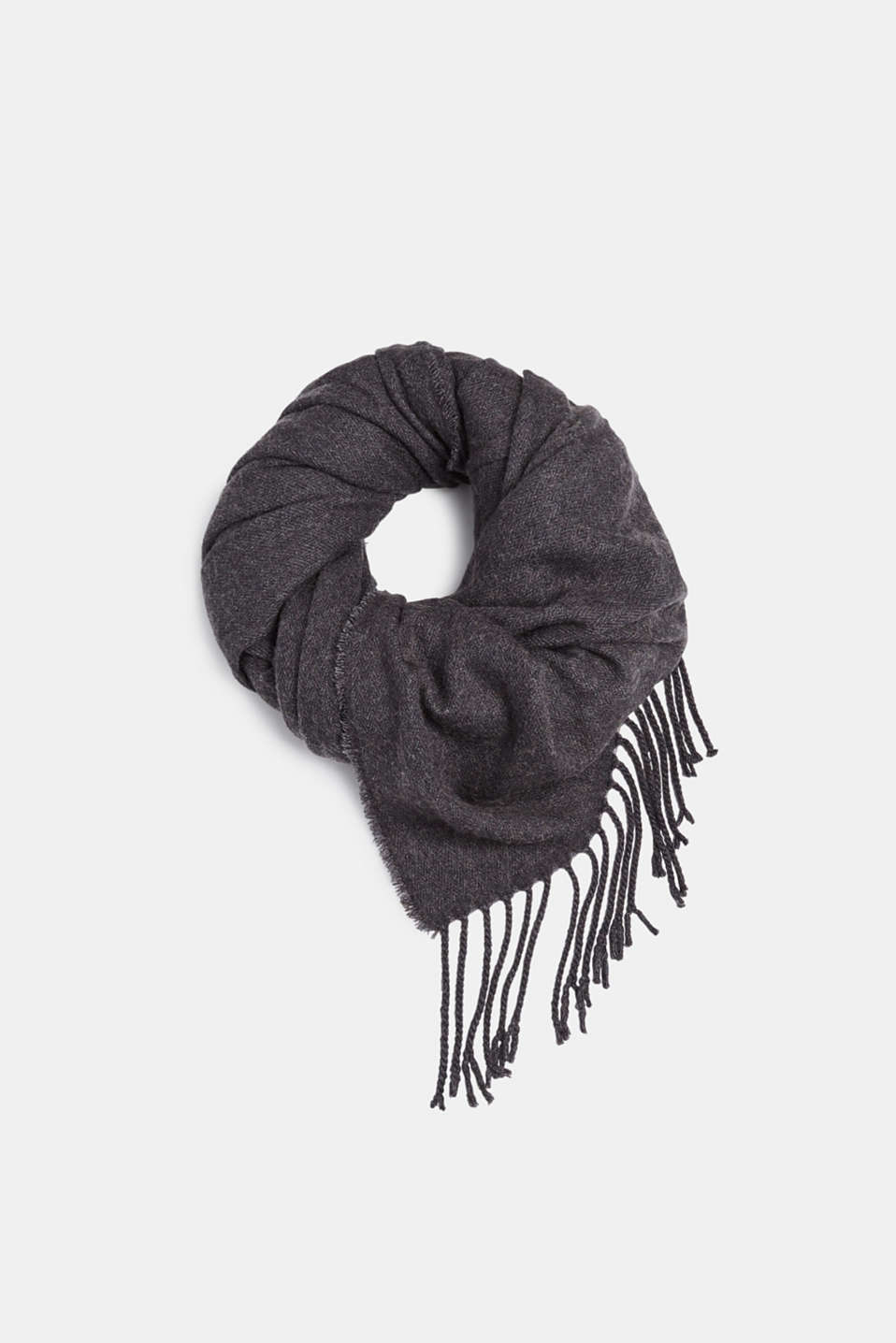 Scarf with fringing, ANTHRACITE, detail image number 0