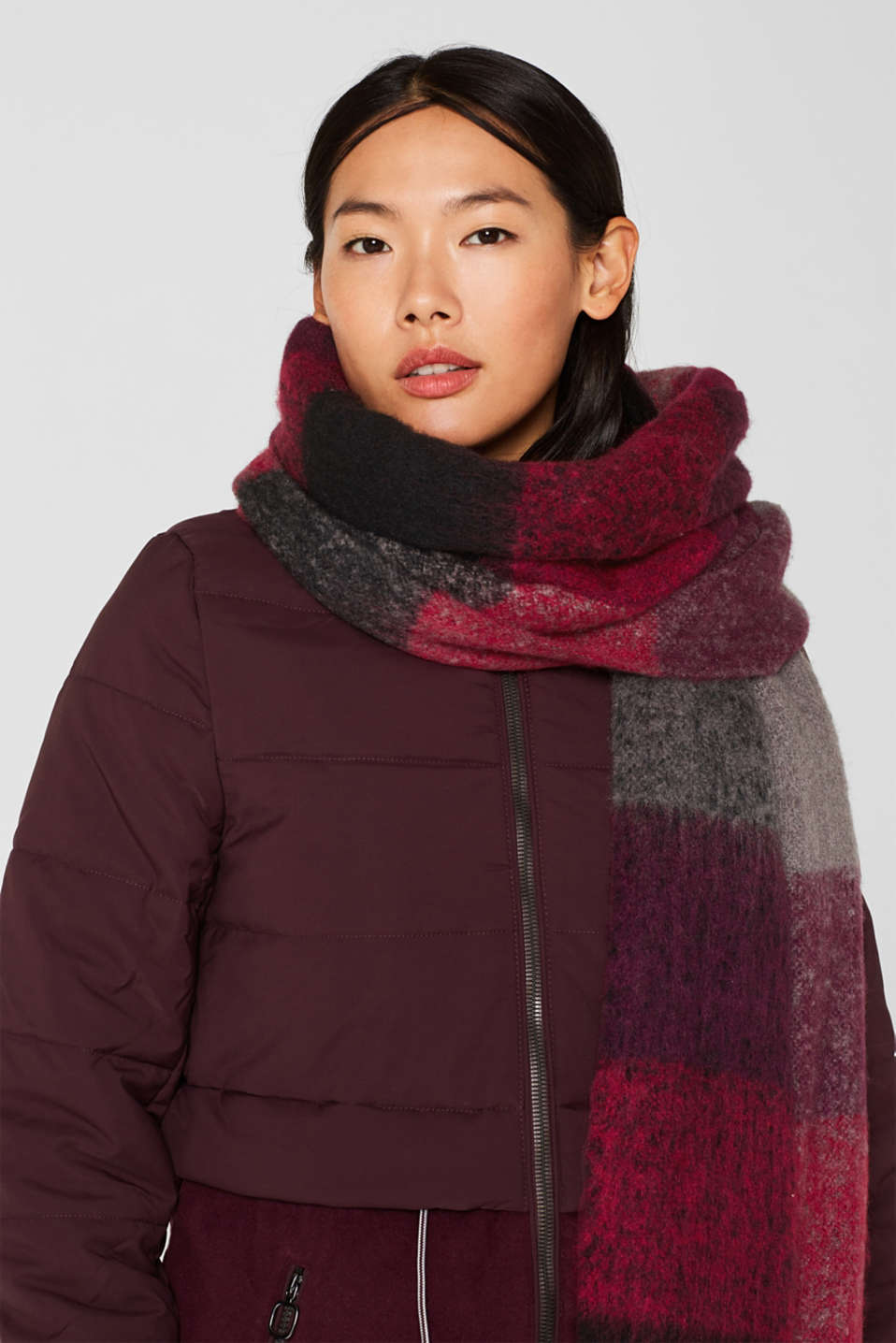 XL scarf with checks, BLACK, detail image number 1