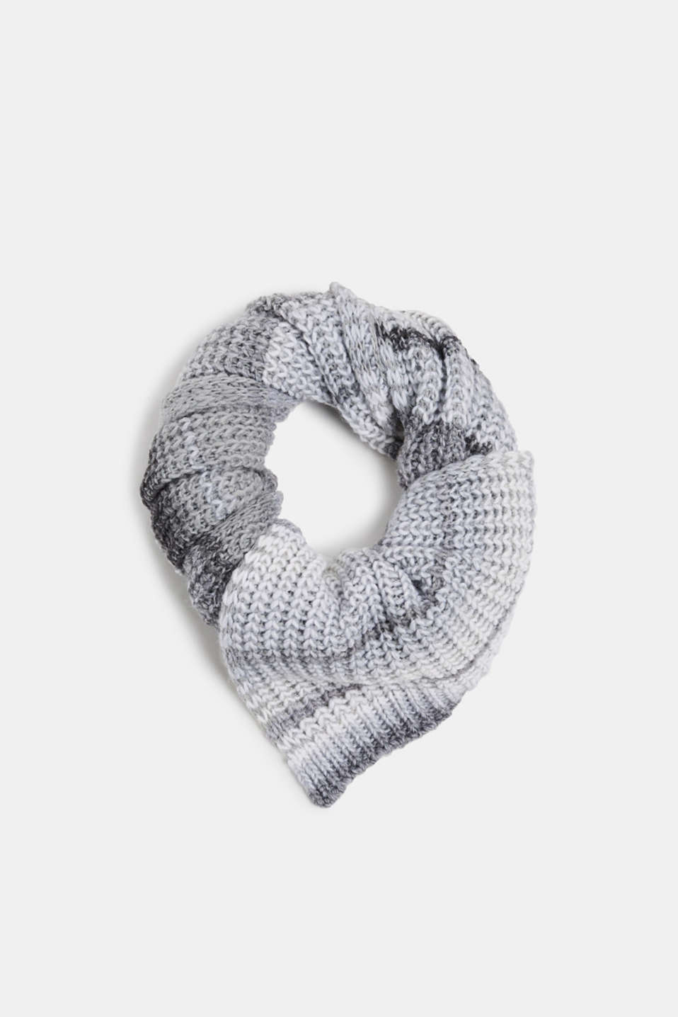 With wool: scarf with stripes, GREY, detail image number 0