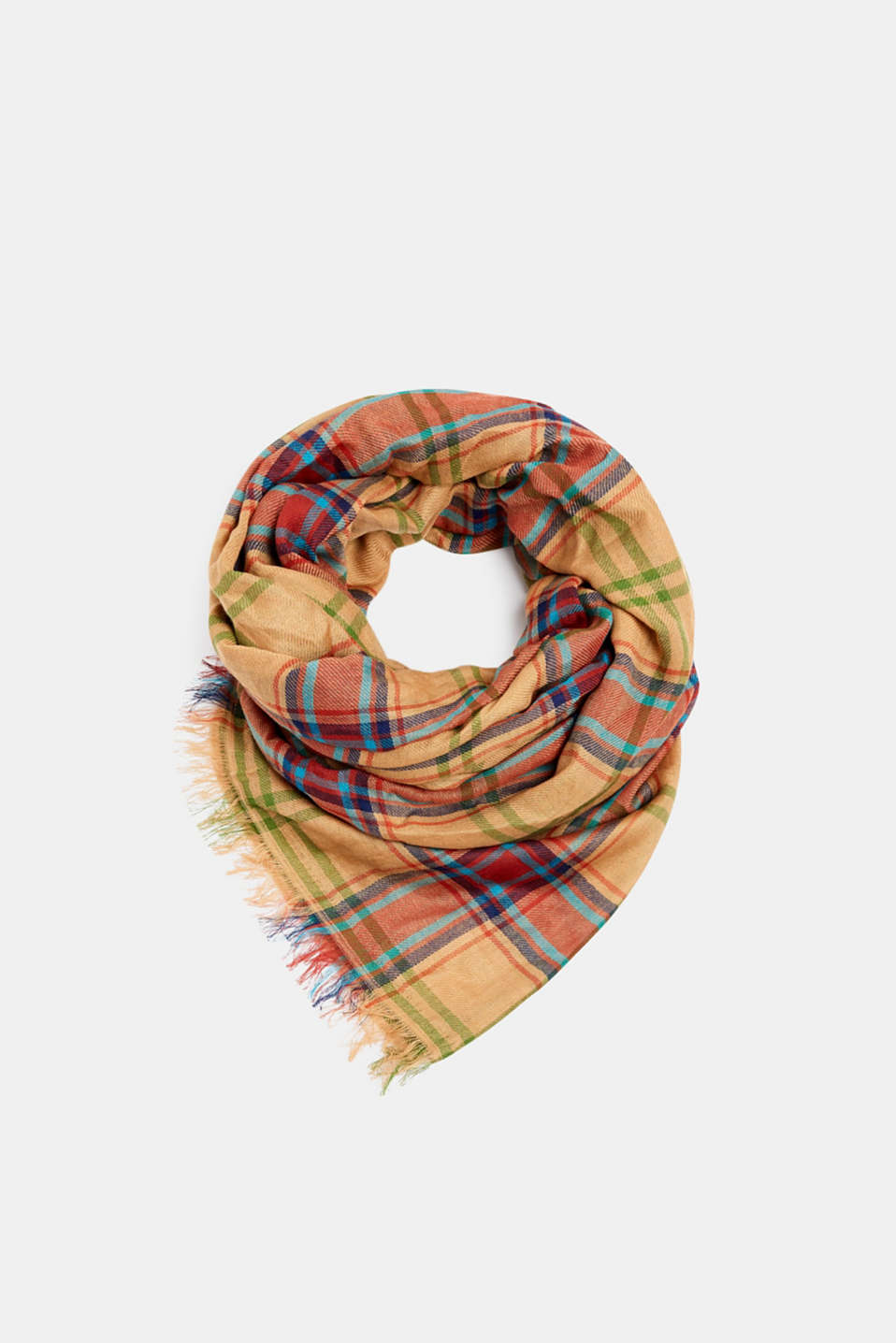 Scarf with a check pattern, 100% cotton, CAMEL, detail image number 0