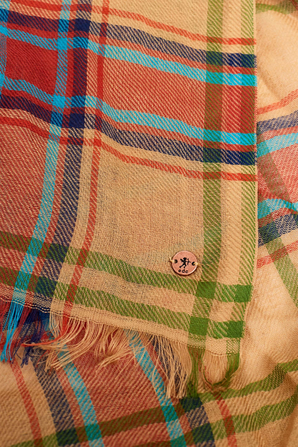 Scarf with a check pattern, 100% cotton, CAMEL, detail image number 2