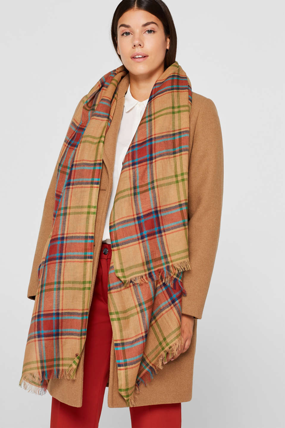 Scarf with a check pattern, 100% cotton, CAMEL, detail image number 1