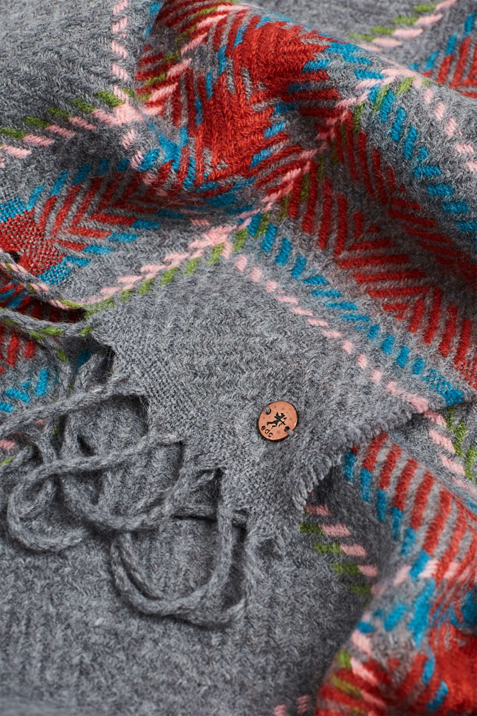 Woven scarf with a checked pattern, TERRACOTTA, detail image number 2
