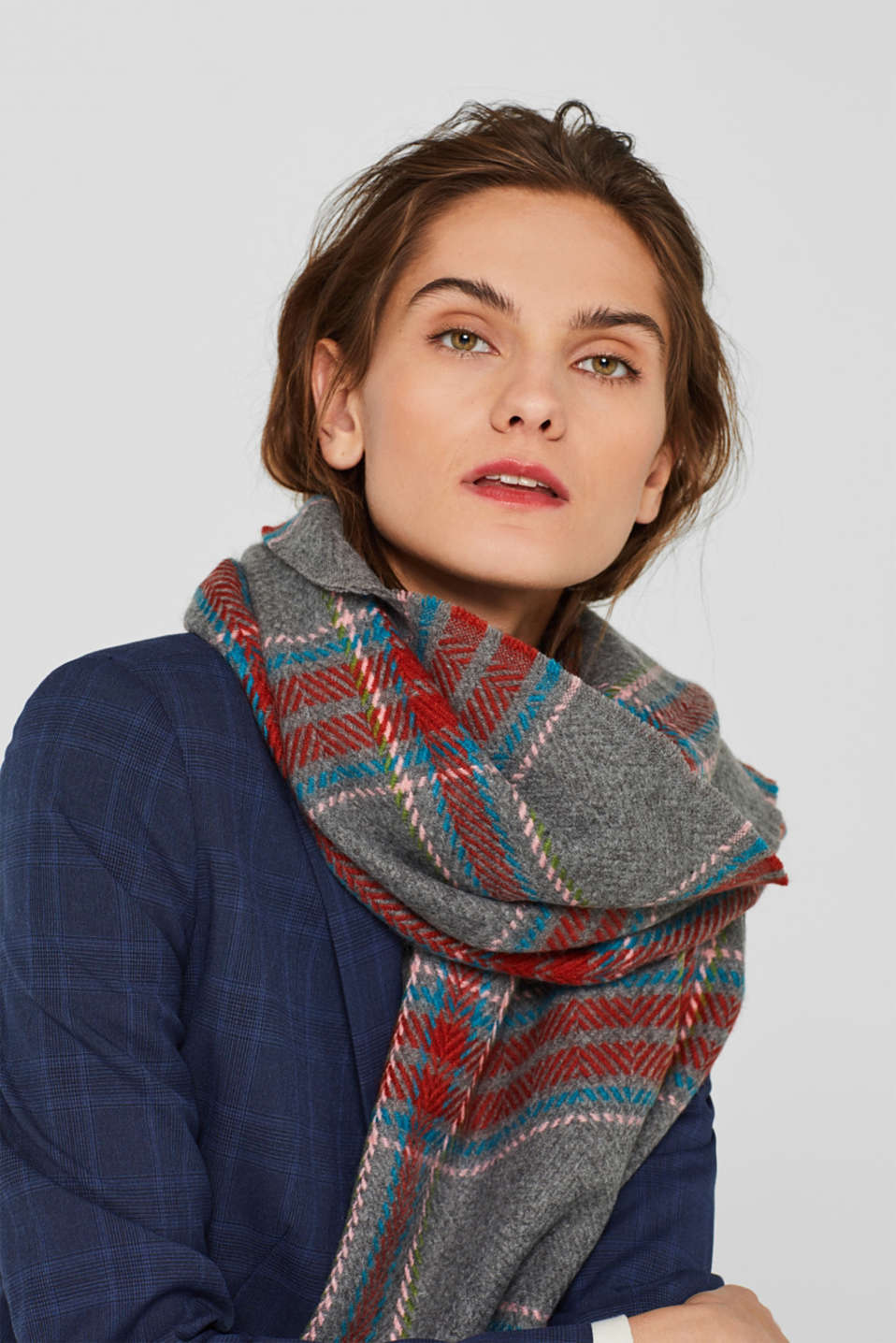 Woven scarf with a checked pattern, TERRACOTTA, detail image number 1