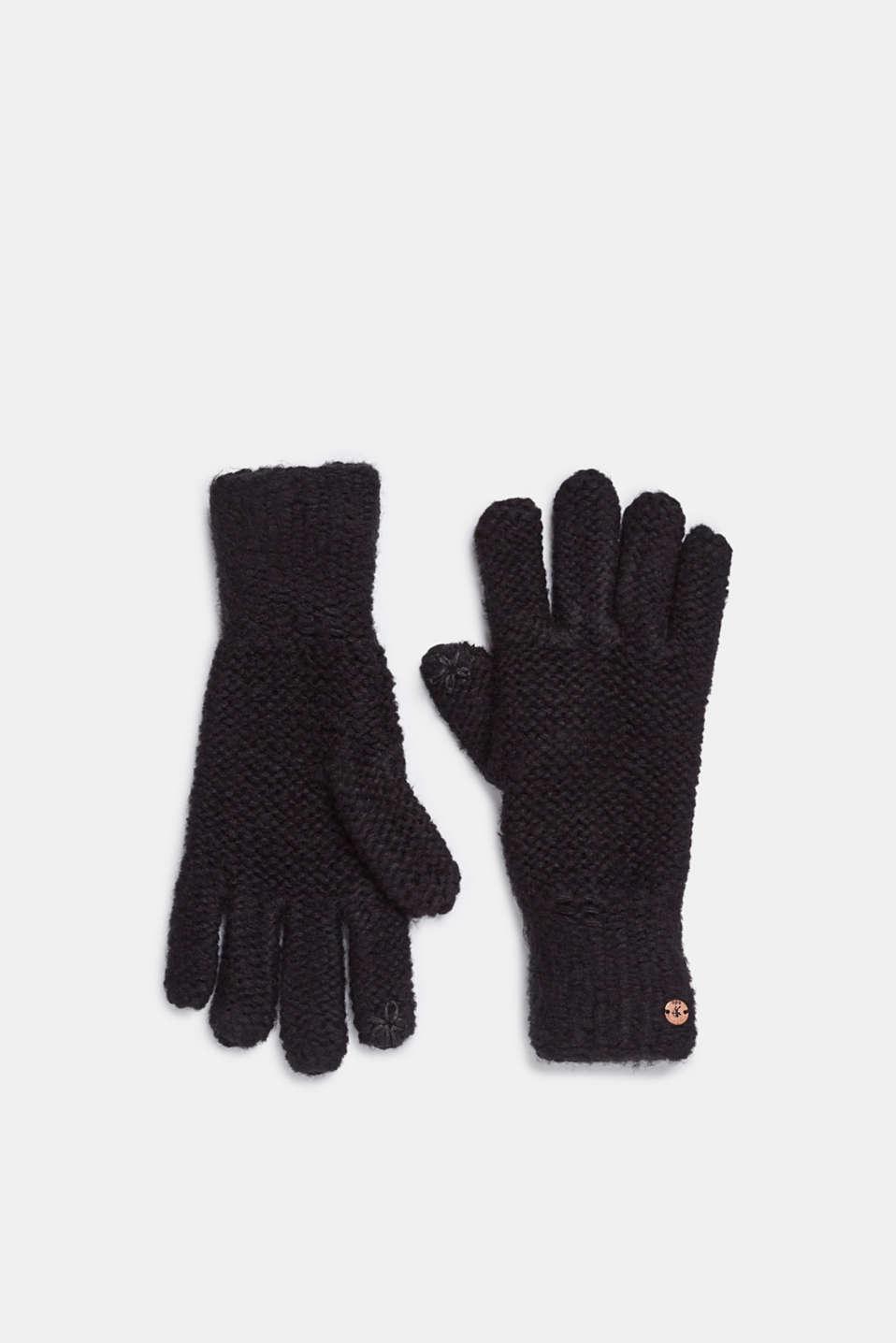 Chunky knit gloves, BLACK, detail image number 0