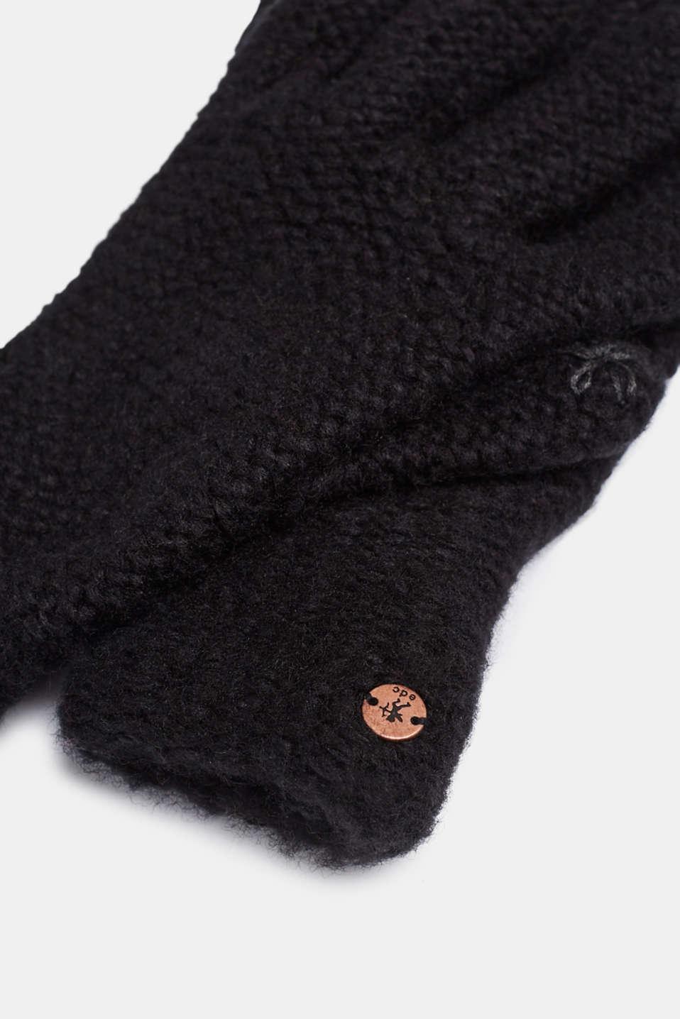 Chunky knit gloves, BLACK, detail image number 1