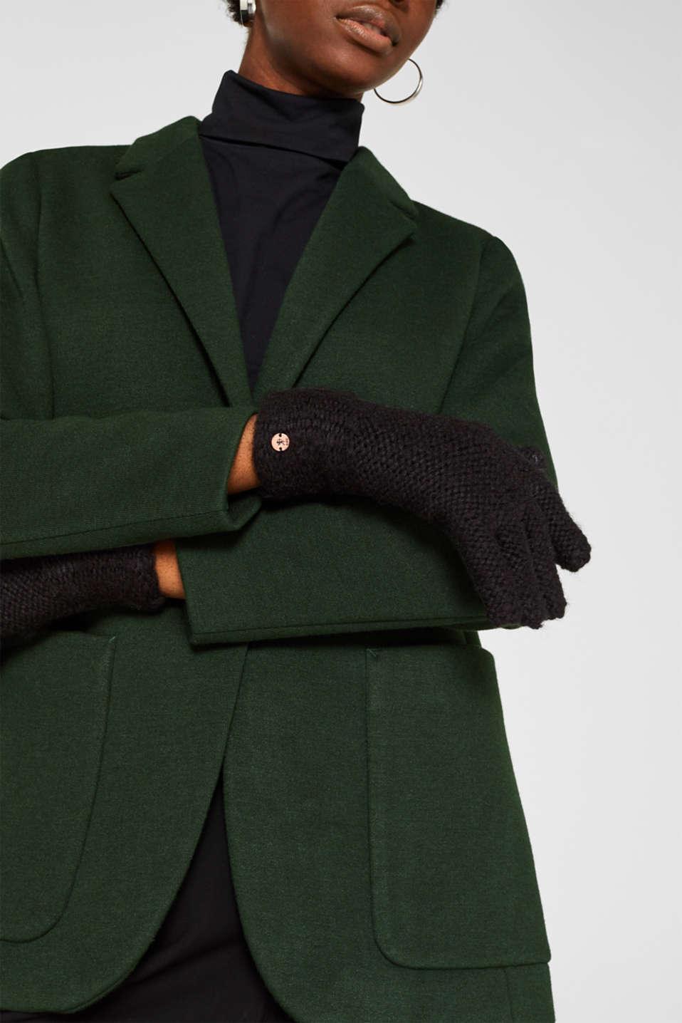 Chunky knit gloves, BLACK, detail image number 2