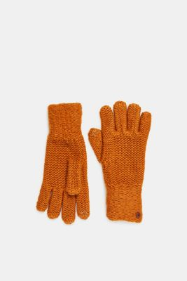 Chunky knit gloves, AMBER YELLOW, detail