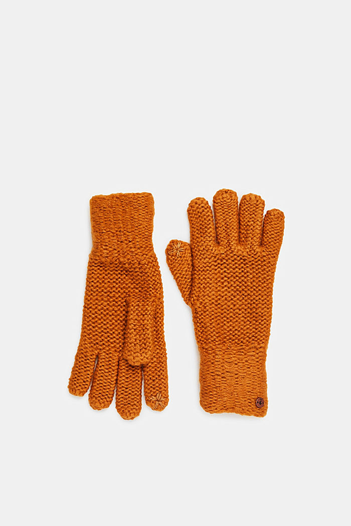 Chunky knit gloves, AMBER YELLOW, detail image number 0