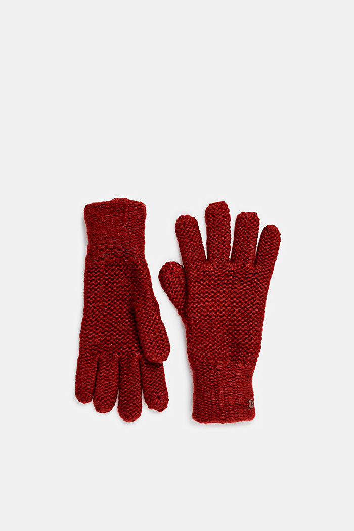 Chunky knit gloves, TERRACOTTA, detail image number 0