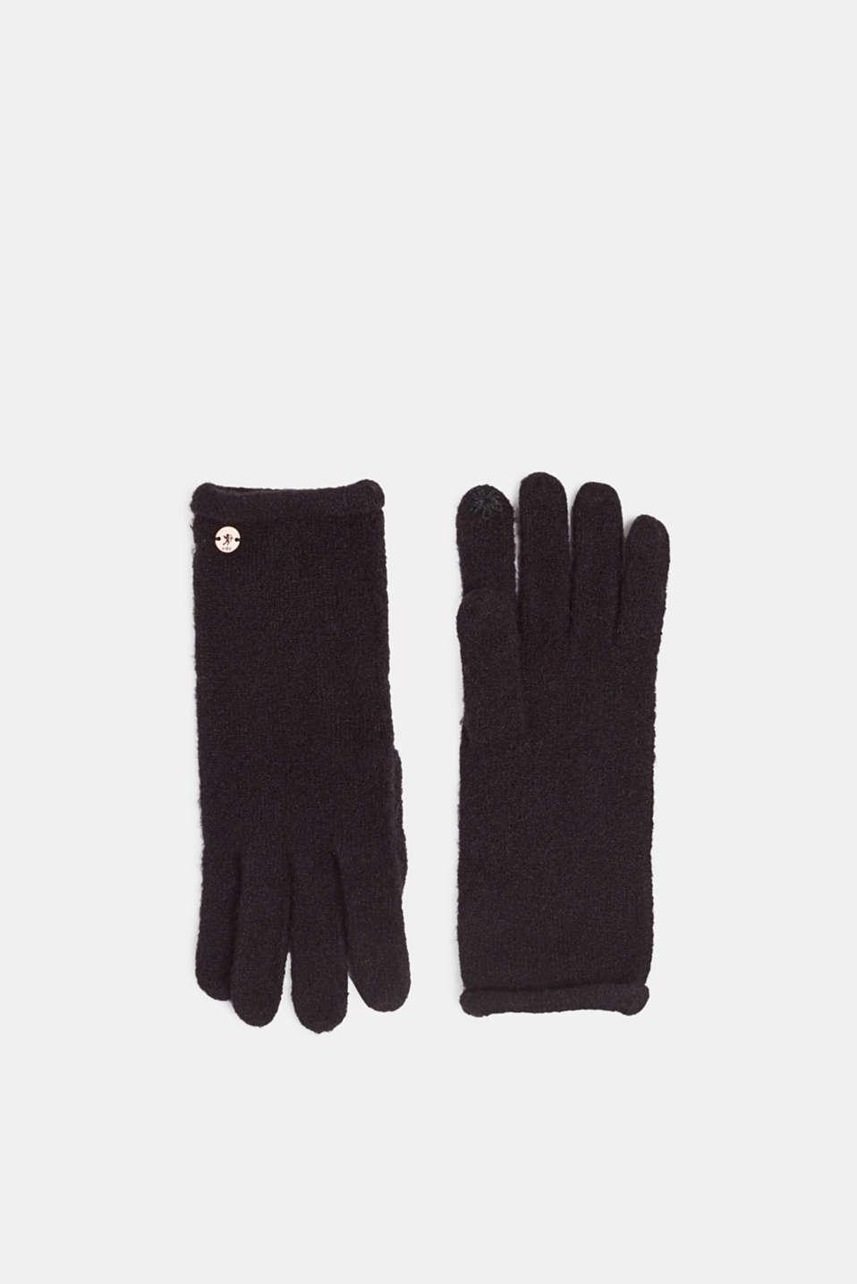 Gloves non-leather, BLACK, detail image number 0
