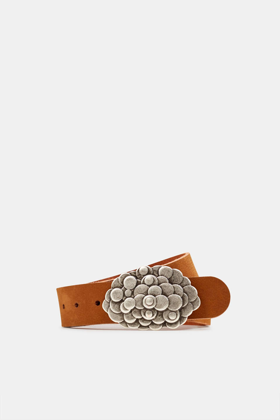 Leather belt with a metal buckle, RUST BROWN, detail image number 0