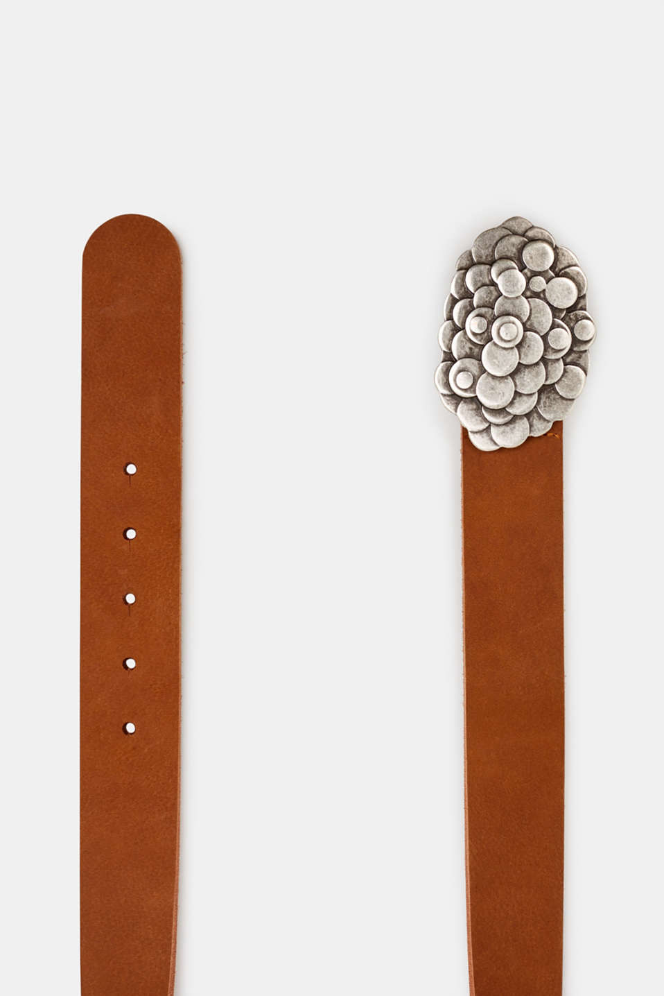 Leather belt with a metal buckle, RUST BROWN, detail image number 1