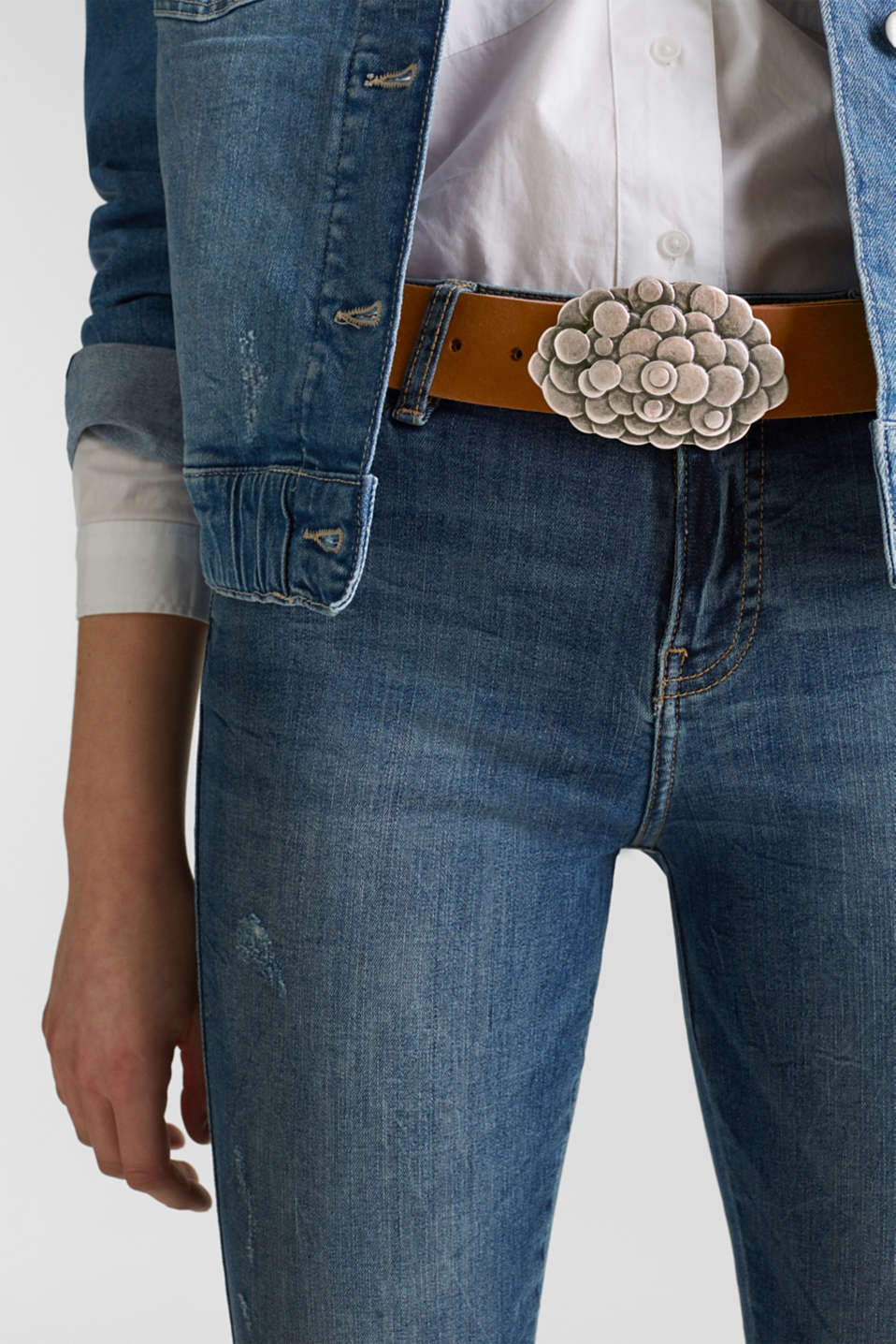 Leather belt with a metal buckle, RUST BROWN, detail image number 2