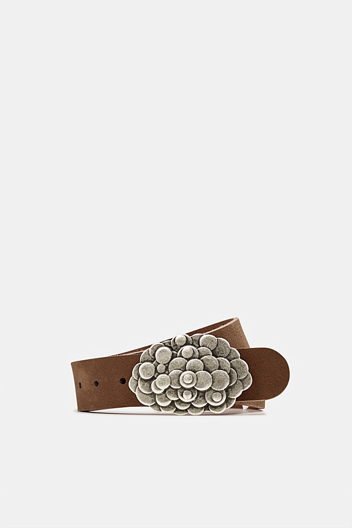 Leather belt with a metal buckle, TAUPE, detail image number 0