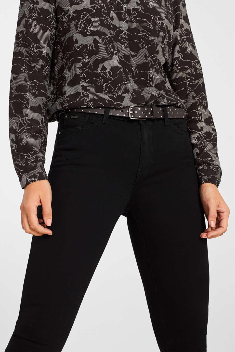 Belts leather, BLACK, detail image number 2