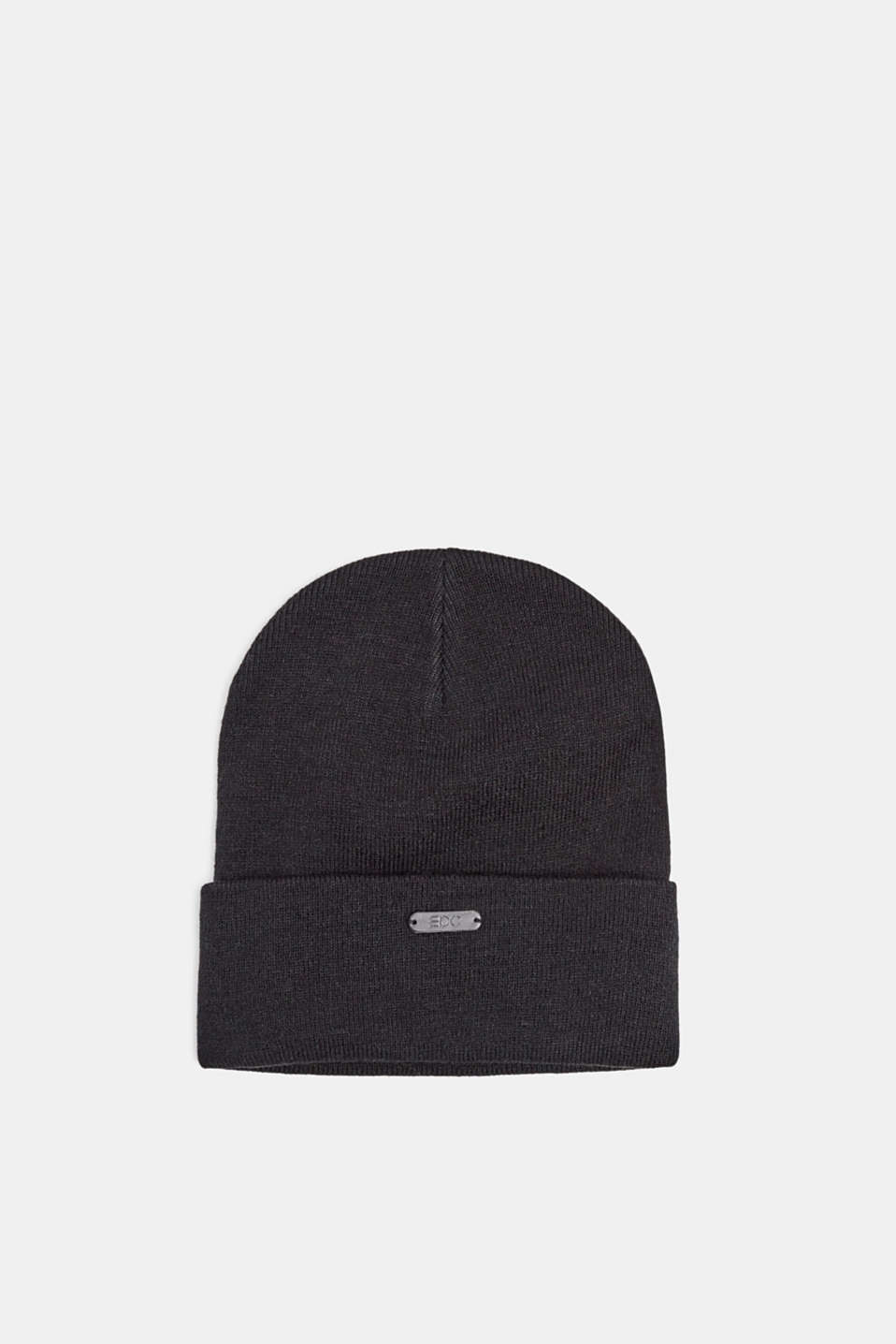 Hat with a turn-up cuff, BLACK, detail image number 0