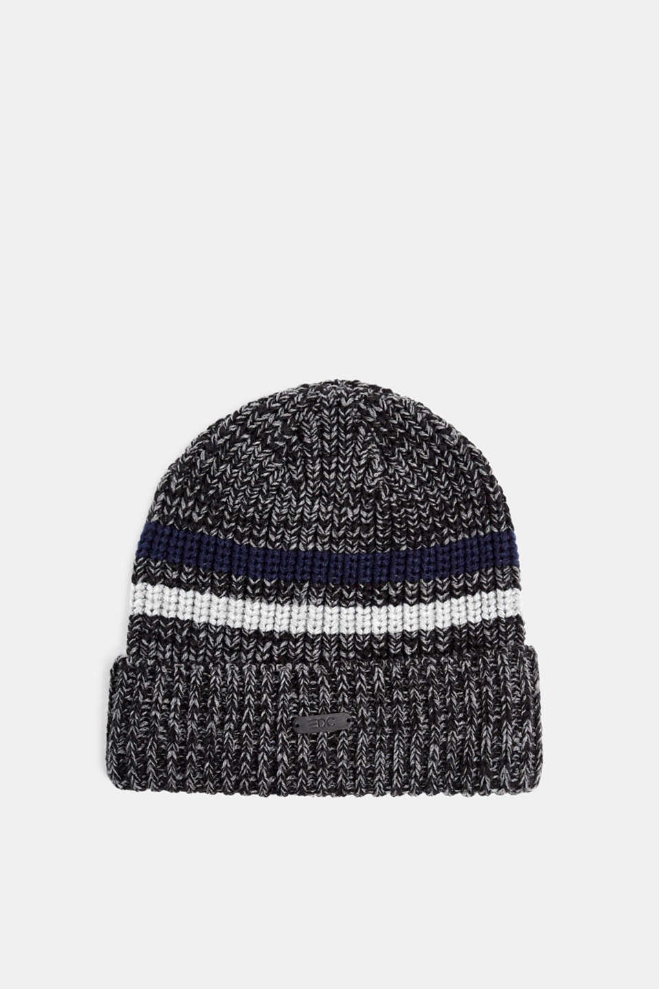 Knit striped cap, ANTHRACITE, detail image number 0
