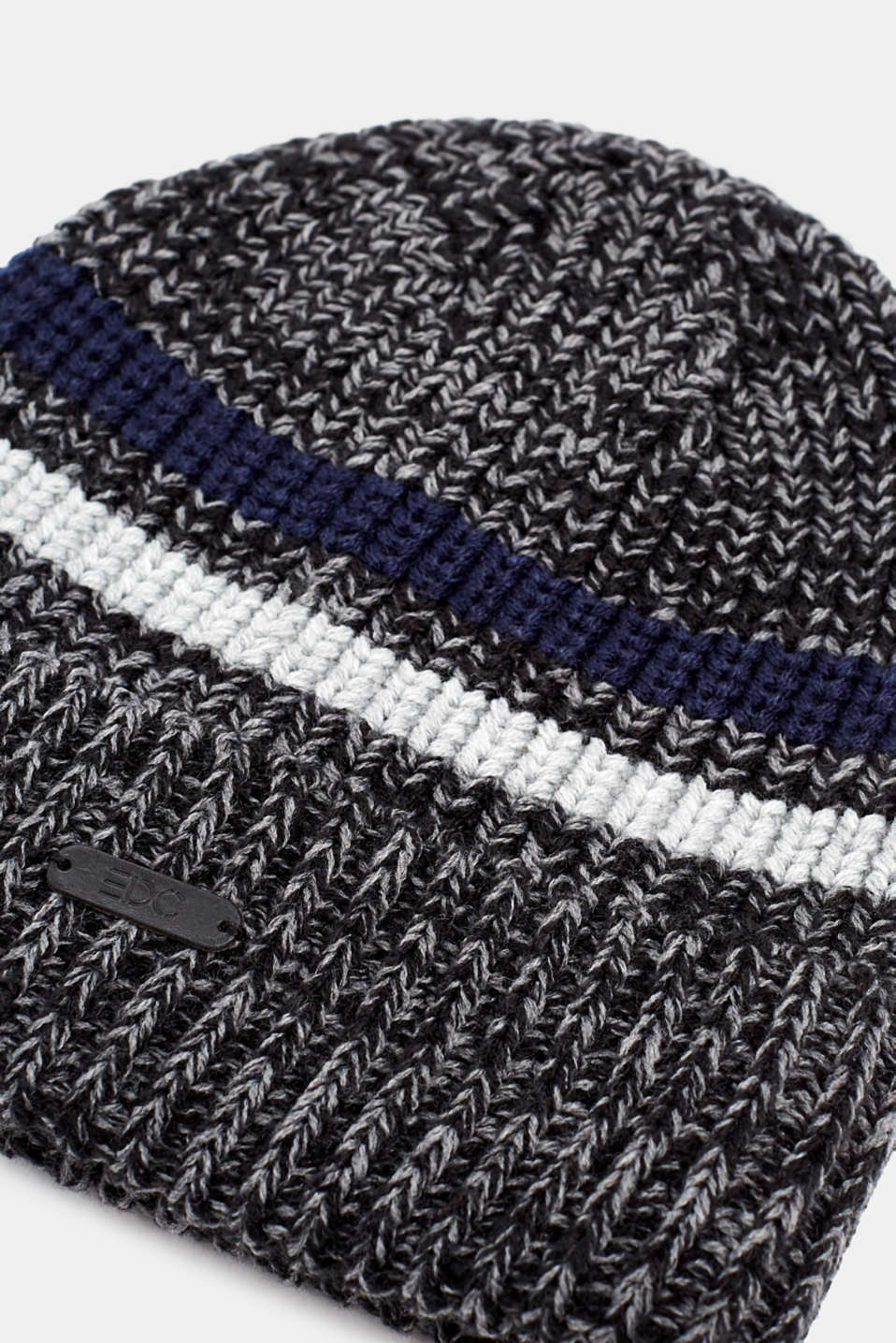 Knit striped cap, ANTHRACITE, detail image number 1