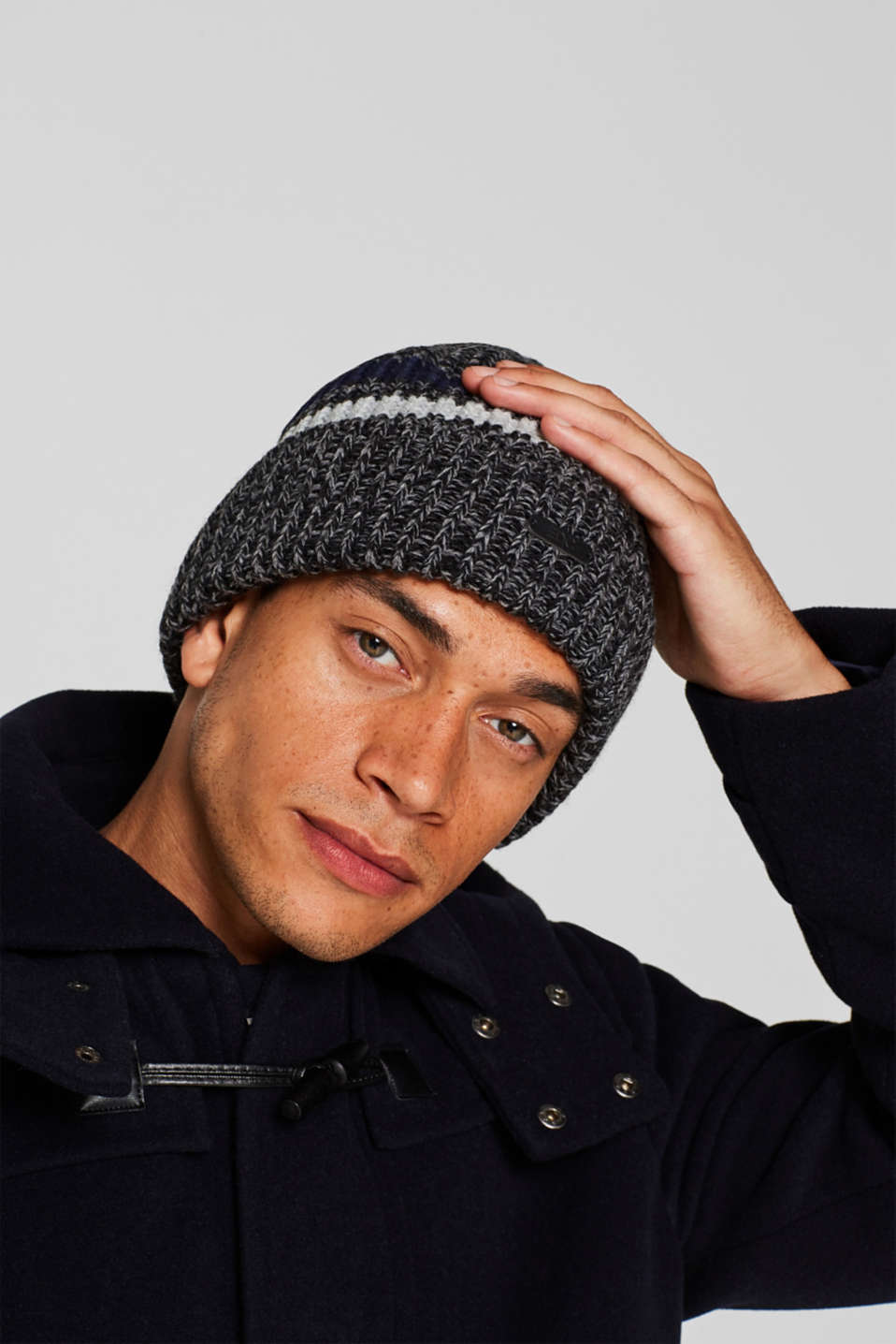 Knit striped cap, ANTHRACITE, detail image number 2