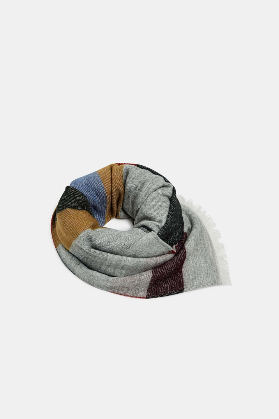 Oversized scarf with block stripes, MEDIUM GREY, detail image number 0