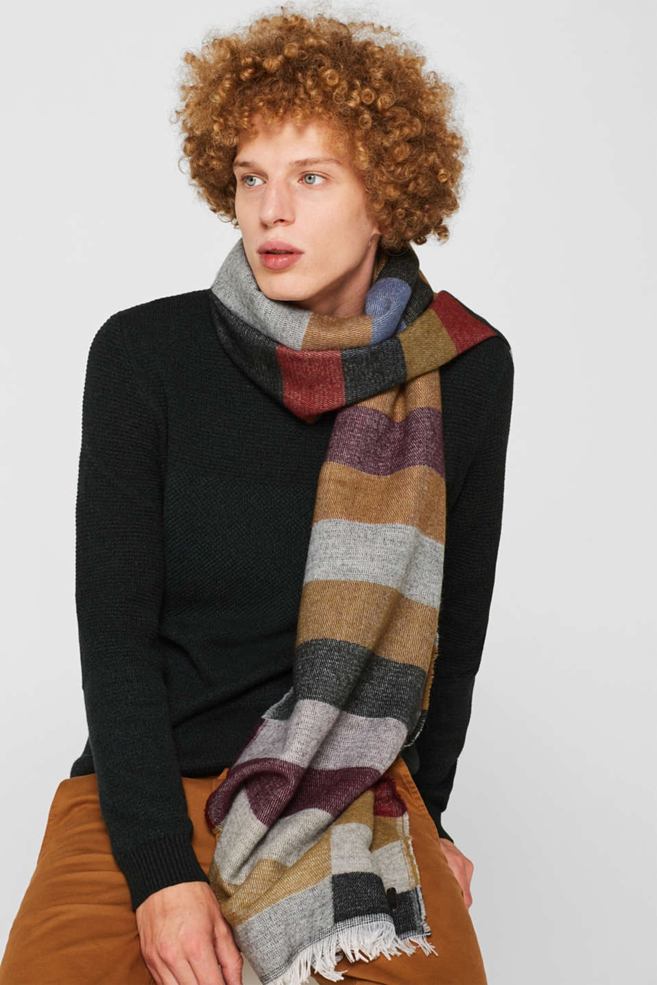 Oversized scarf with block stripes, MEDIUM GREY, detail image number 1