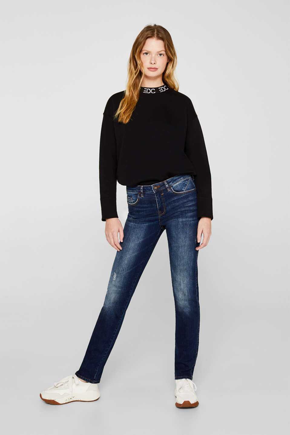 edc - Stretch jeans with button-fastening patch pockets