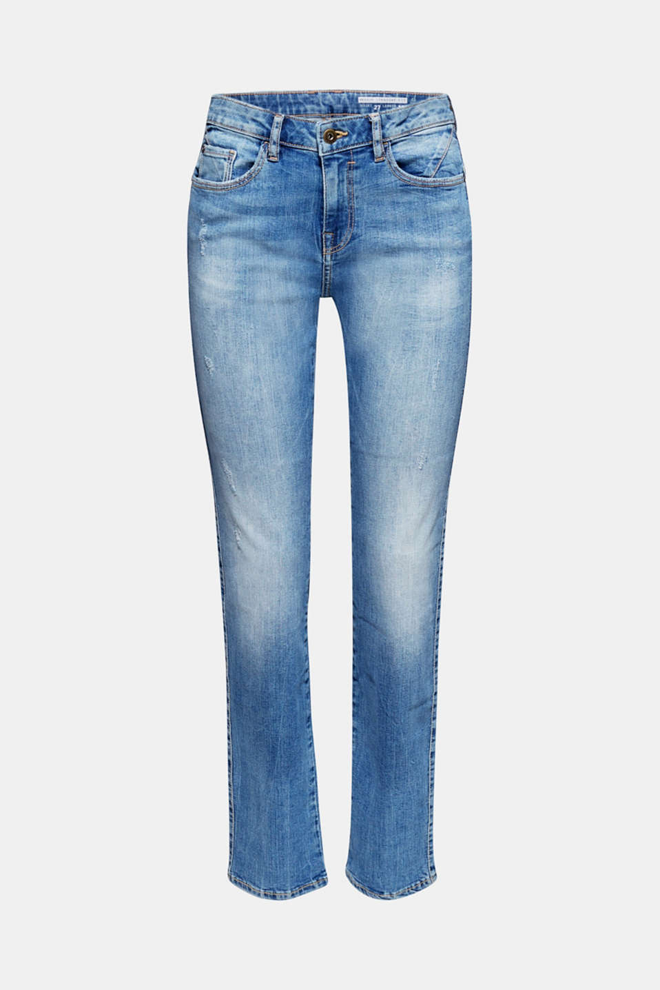 Stretch jeans with button-fastening patch pockets