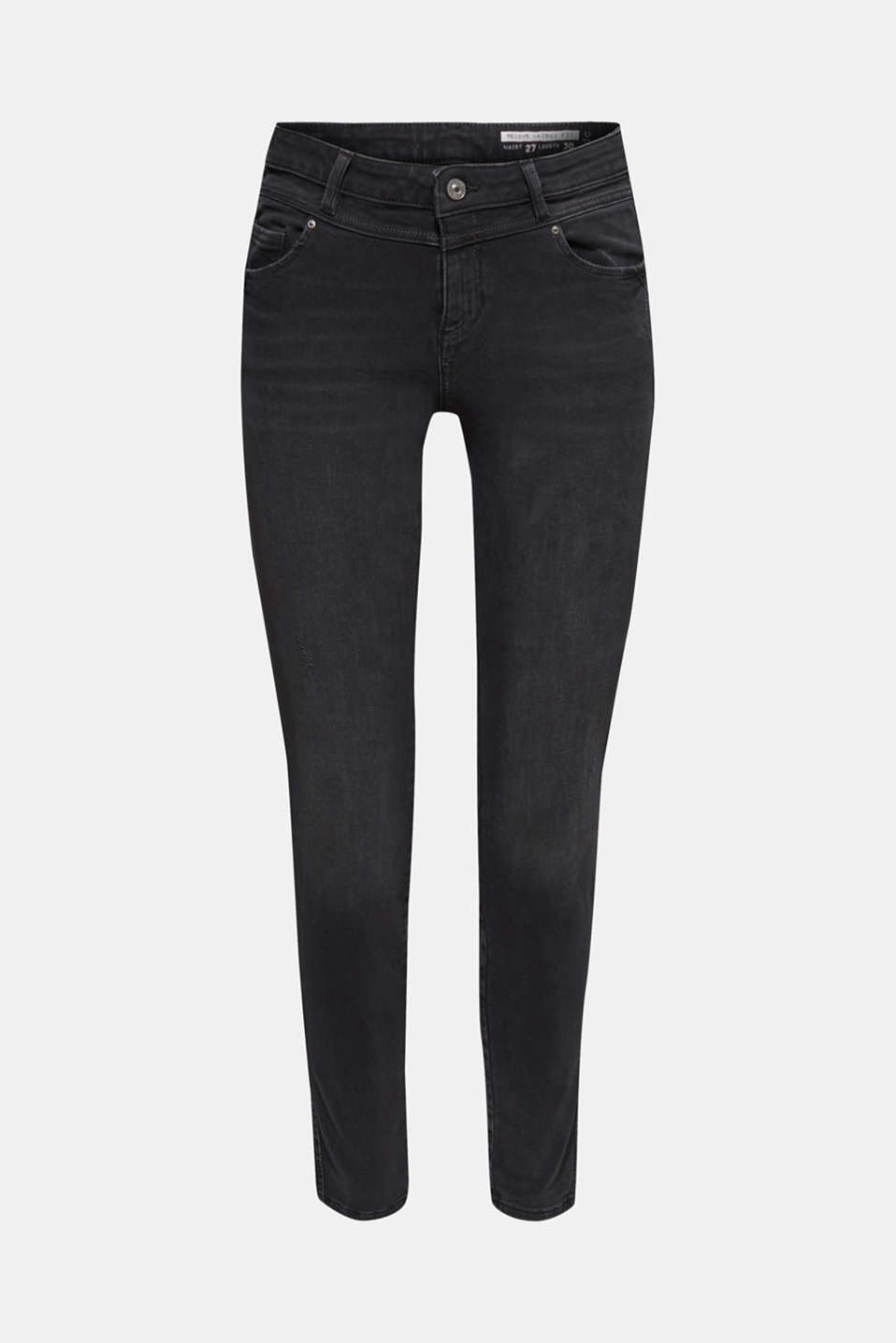 With TENCEL™: Shaping jeans with two-way stretch, BLACK DARK WASH, detail image number 7