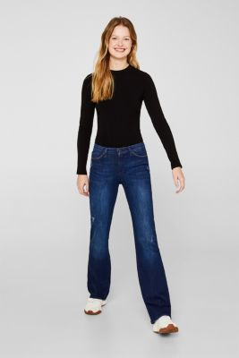 Super stretch jeans with organic cotton, BLUE DARK WASH, detail