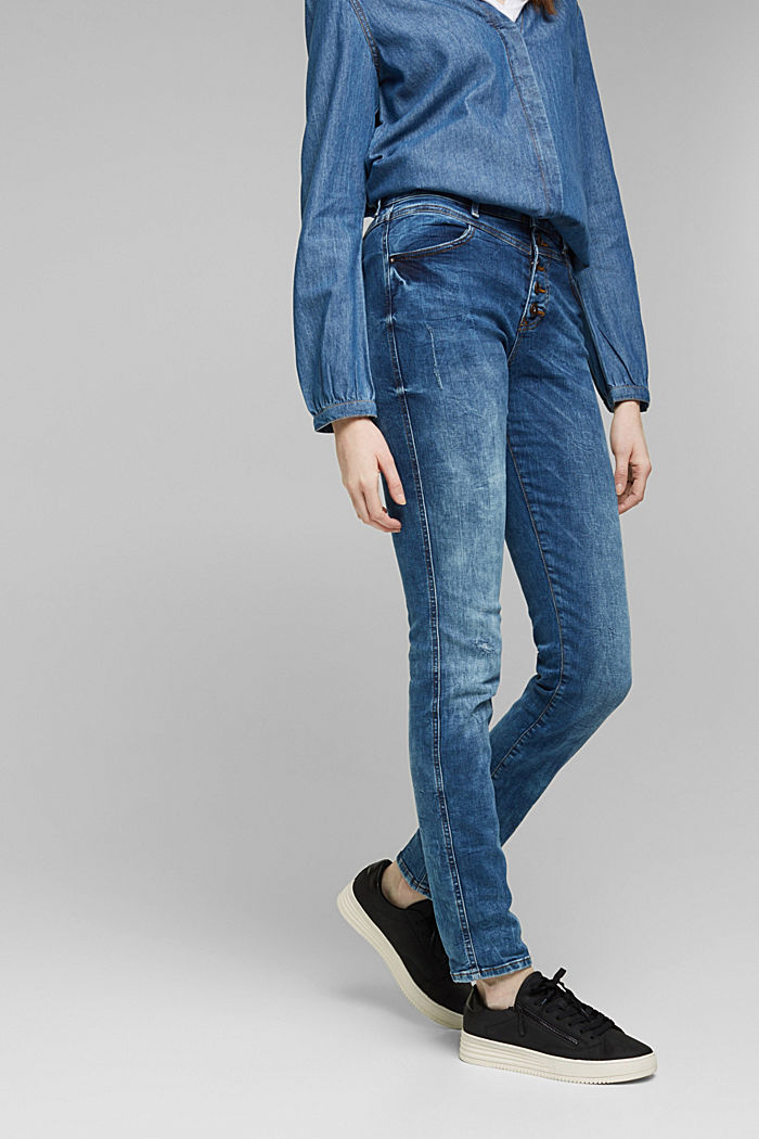 Stretch jeans with a button fly, BLUE DARK WASHED, detail image number 0